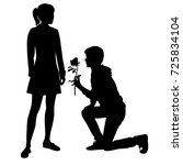 vector silhouettes of girl and... | Shutterstock .eps vector #725834104