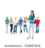 large group of teenage students ... | Shutterstock . vector #725837656