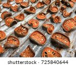 dry bael fruit   slices of dry... | Shutterstock . vector #725840644