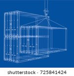 cargo container. wire frame...