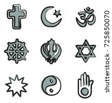 religion icons freehand 2 color | Shutterstock .eps vector #725850070