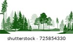illustration with high pines in ... | Shutterstock .eps vector #725854330