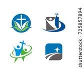 church or religious logo design ... | Shutterstock .eps vector #725857894