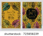 two wedding cards with colorful ... | Shutterstock .eps vector #725858239