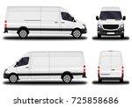 realistic cargo van. front view ... | Shutterstock .eps vector #725858686