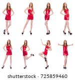 woman in red dress isolated on... | Shutterstock . vector #725859460