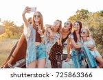 six beautiful girls make selfie ... | Shutterstock . vector #725863366