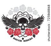 winged skull  roses and spiny... | Shutterstock .eps vector #725868868