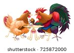 hen and rooster in a cafe.... | Shutterstock .eps vector #725872000