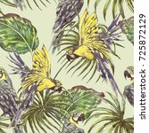 vintage seamless tropical... | Shutterstock . vector #725872129
