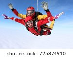 Small photo of Skydiving. Tandem jump. The tandem is flying above white clouds.