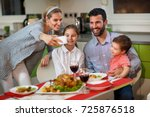 cheerful family with children... | Shutterstock . vector #725876518