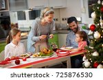 cheerful family with two... | Shutterstock . vector #725876530