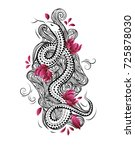 china style tattoo design with...   Shutterstock .eps vector #725878030