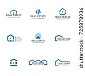 Stock vector set of real estate logo templates house buildings skyline creative abstract shapes for logo 725878936