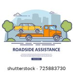 roadside assistance with... | Shutterstock .eps vector #725883730