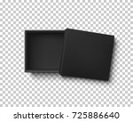 opened black empty gift box on... | Shutterstock .eps vector #725886640