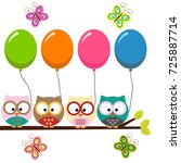 four colorful owls with... | Shutterstock .eps vector #725887714