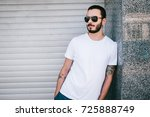 a young stylish man with a... | Shutterstock . vector #725888749