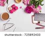 pink peonies  coffee with milk... | Shutterstock . vector #725892433