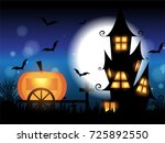 halloween pumpkin on wooden... | Shutterstock .eps vector #725892550