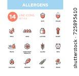 allergens   set of vector... | Shutterstock .eps vector #725895610