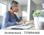 senior woman working in office... | Shutterstock . vector #725896468