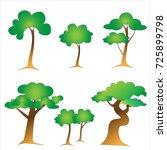 trees set cartoon. | Shutterstock .eps vector #725899798