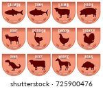 meat and butcher store design... | Shutterstock .eps vector #725900476