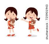 little girl with teddy bear | Shutterstock .eps vector #725901943