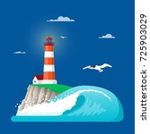 illustration of lighthouse on... | Shutterstock . vector #725903029