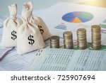 money saving and money bag with ... | Shutterstock . vector #725907694