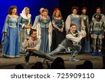 Small photo of DNIPRO, UKRAINE - SEPTEMBER 30, 2017: The Comedy of Errors by William Shakespeare performed by members of the Chernihiv Regional Academic Music and Drama Theater named after TG Shevchenko.