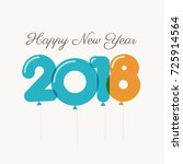 happy new year 2018 card ... | Shutterstock .eps vector #725914564