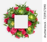 creative layout made of flowers ... | Shutterstock . vector #725917390