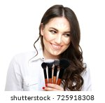 contouring.make up woman face....   Shutterstock . vector #725918308