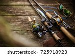 fishing tackle blurred... | Shutterstock . vector #725918923