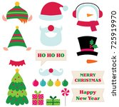 christmas santa  elf and... | Shutterstock .eps vector #725919970