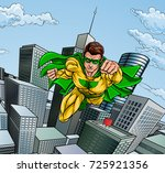 super hero with a cape in a... | Shutterstock . vector #725921356