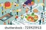 healthy food  diet and... | Shutterstock .eps vector #725925913
