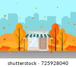 coffee shop in a city autumn... | Shutterstock .eps vector #725928040