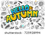 hello autumn message in pop art ... | Shutterstock .eps vector #725928994