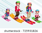 family as snow skiing people.... | Shutterstock .eps vector #725931826