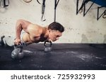 gym man push up strength pushup ... | Shutterstock . vector #725932993