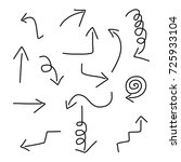 hand drawn arrows set | Shutterstock .eps vector #725933104