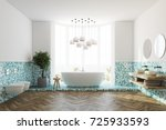 white and green tiles bathroom...   Shutterstock . vector #725933593
