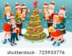 christmas family in snow night... | Shutterstock .eps vector #725933776