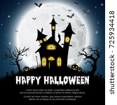 halloween background with... | Shutterstock . vector #725934418