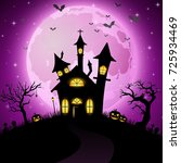 halloween background with scary ... | Shutterstock . vector #725934469