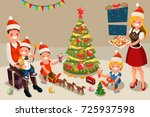 winter family at christmas... | Shutterstock .eps vector #725937598
